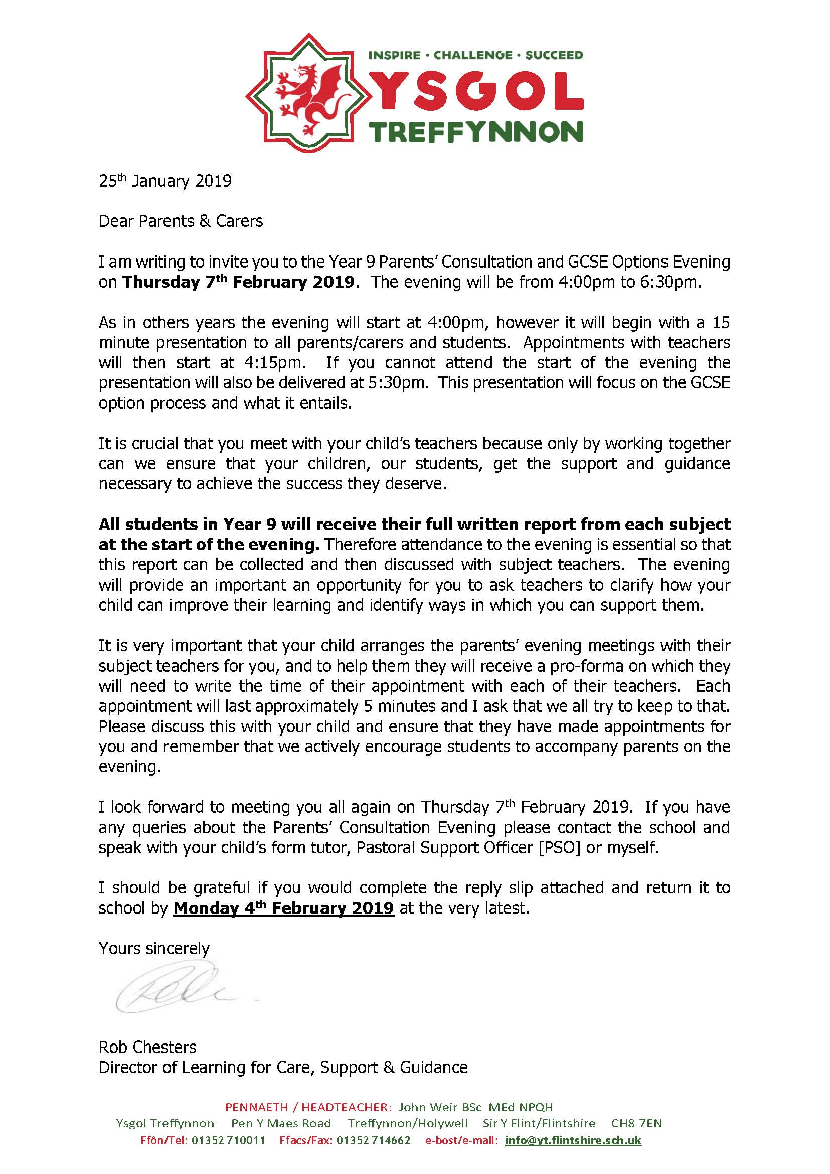 Letter To Parents From Teacher Beginning Of The Year.Year 9 Parents Evening And Options Letter Ysgol Treffynnon